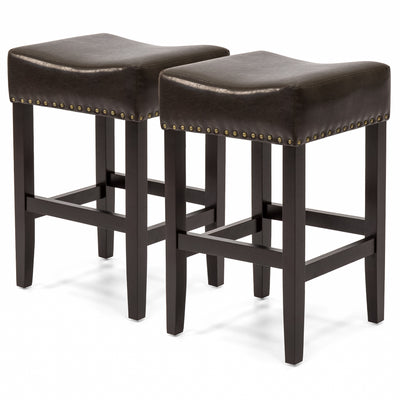 Best Choice Products Set Of 2 Backless Leather Counter Stools W/ Brass Studs- Espresso Brown