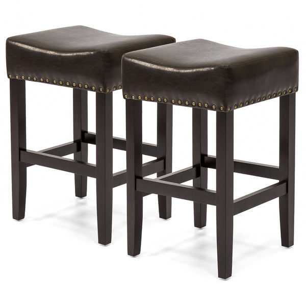 Best Choice Products Set Of 2 Backless Leather Counter Stools W/ Brass Studs - Espresso Brown