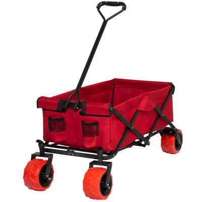 Best Choice Products Folding Utility Wagon Shopping Garden Beach Cart W/ All-Terrain Wheels- Red