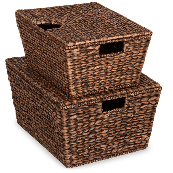 Set of 2 Woven Water Hyacinth Baskets - Brown