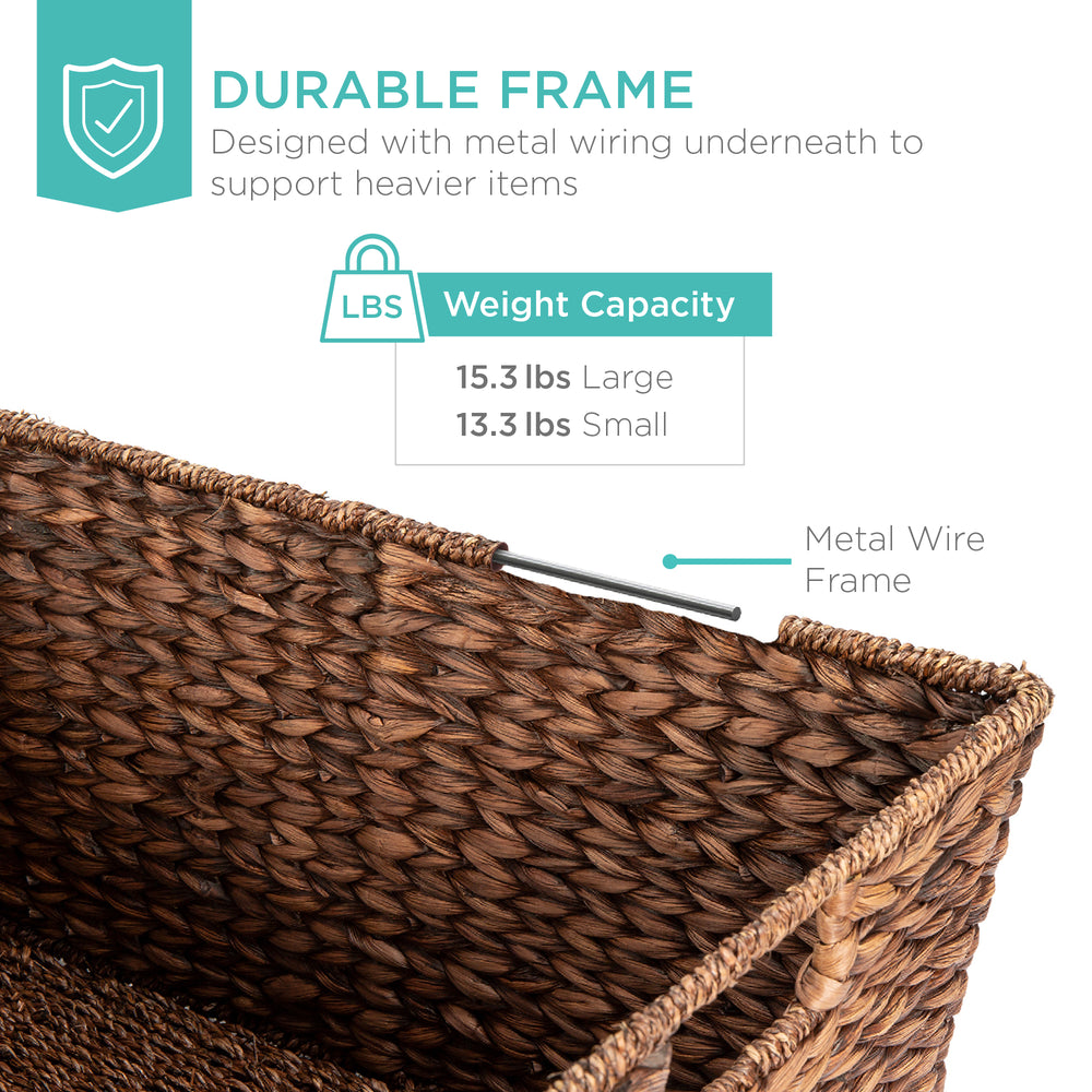 Best Choice Products Set Of 2 Water Hyacinth Tapered Storage Basket Chests W/ Attached Lid Handle Brushed Espresso