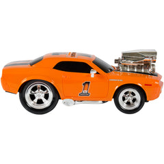 Best Choice Products 2.4 GHz Remote Control Drag Race Supercharger Muscle Car RC Lights Sounds USB Charger (Orange)