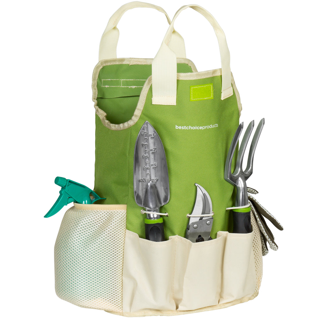 9-Piece Gardening Tool Accessory Set w/ Hand Tools, Gloves, Carrying Bag
