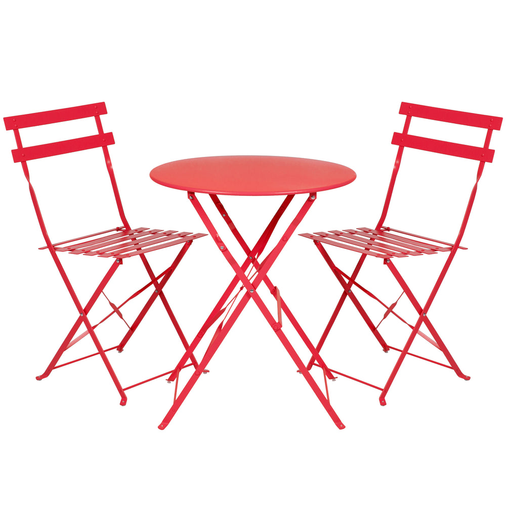 Ideal Best Choice Products Outdoor Patio Folding Metal Bistro Set, Table And EG69
