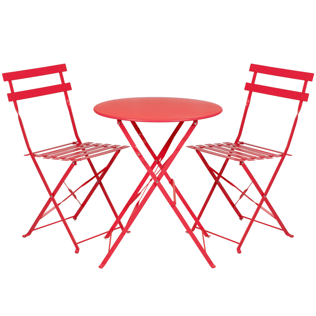3-Piece Portable Folding Metal Outdoor Bistro Furniture Set w/ Steel Frame