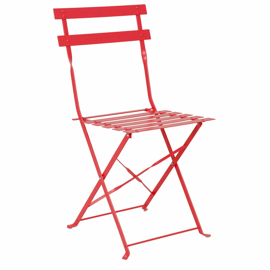 Best Choice Products Outdoor Patio Folding Metal Bistro Set, Table And 2 Chairs - Red