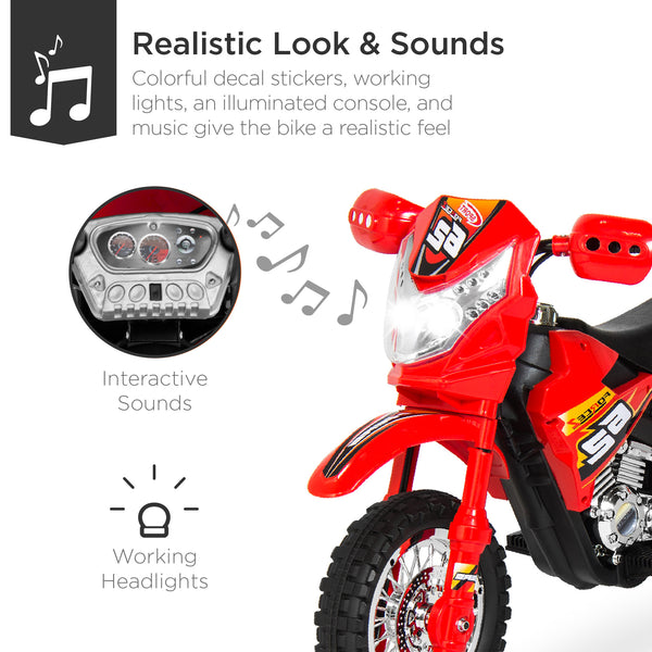 Best Choice Products 6V Electric Kids Ride On Motorcycle Dirt Bike W/ Training Wheels- Red