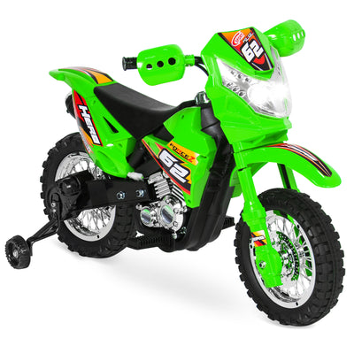 Best Choice Products 6V Electric Kids Ride On Motorcycle Dirt Bike W/ Training Wheels- Green