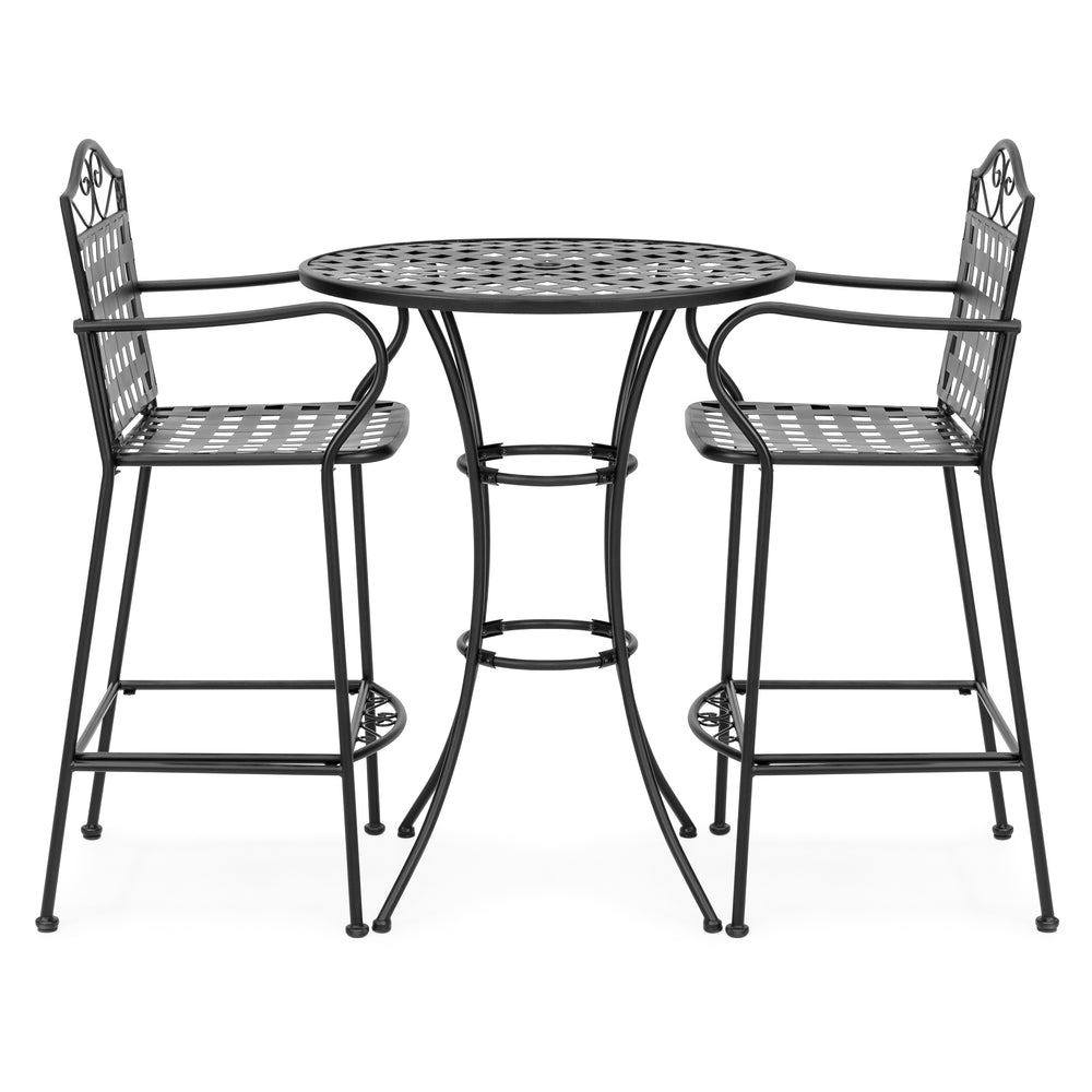 3-Piece Iron Bistro Table Set w/ 2 Chairs - Black – Best Choice Products
