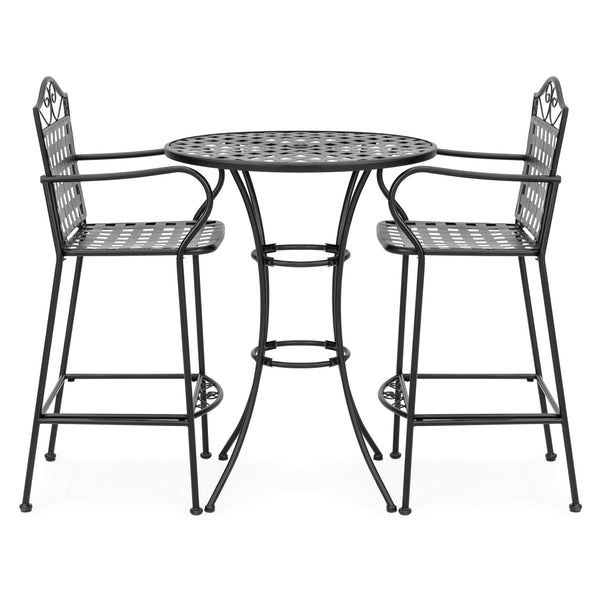 3-Piece Iron Bistro Table Set w/ 2 Chairs - Black