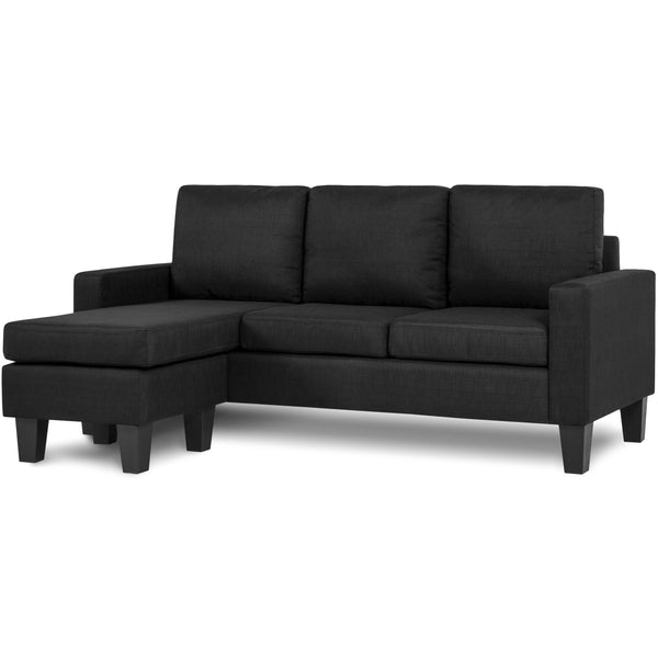 Linen L-Shape Sectional Sofa Couch w/ Reversible Chaise Ottoman - Black