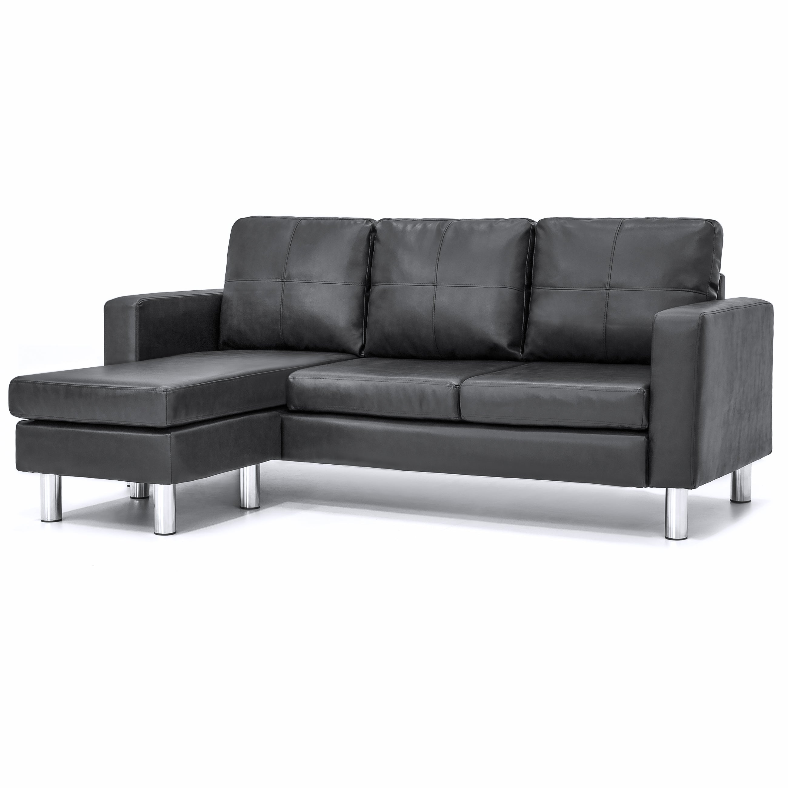 Leather L-Shape Sectional Sofa Couch w/ Reversible Chaise Ottoman - Black