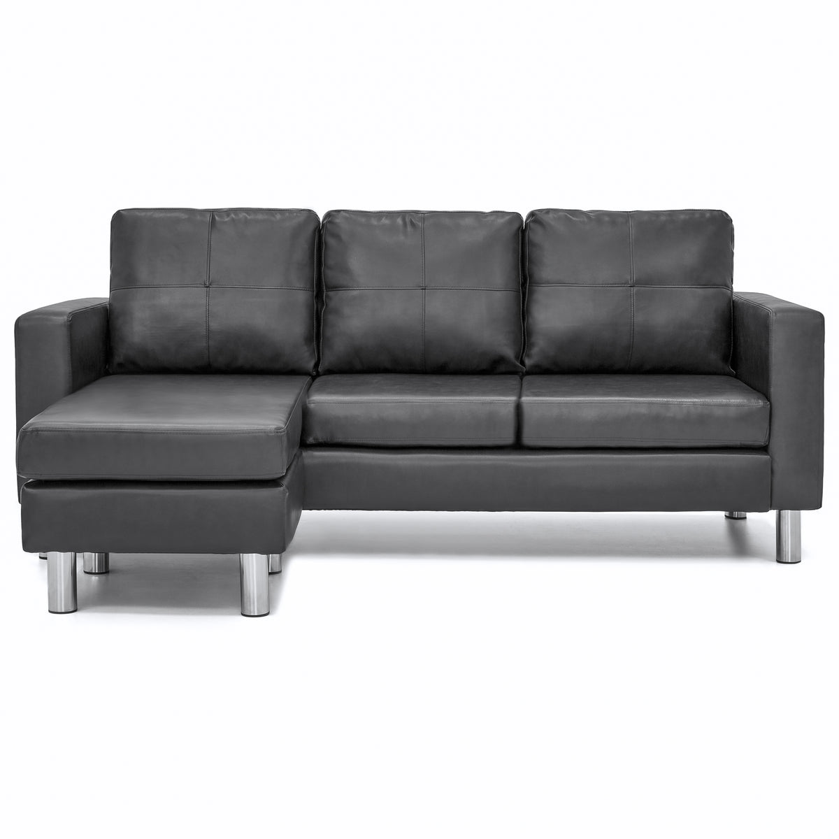 Leather L Shape Sectional Sofa Couch W Reversible Chaise