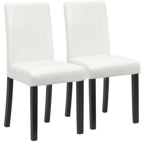 Set Of 2 Faux Leather Dining Chairs - White