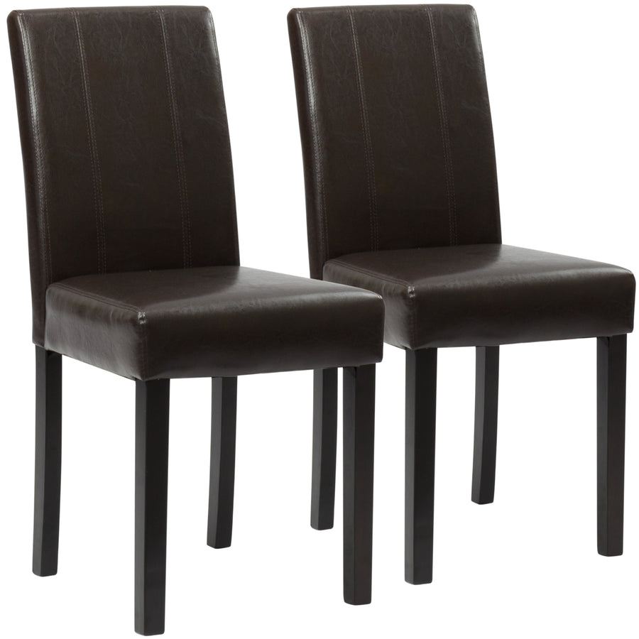 Set Of 2 Faux Leather Dining Chairs - Brown