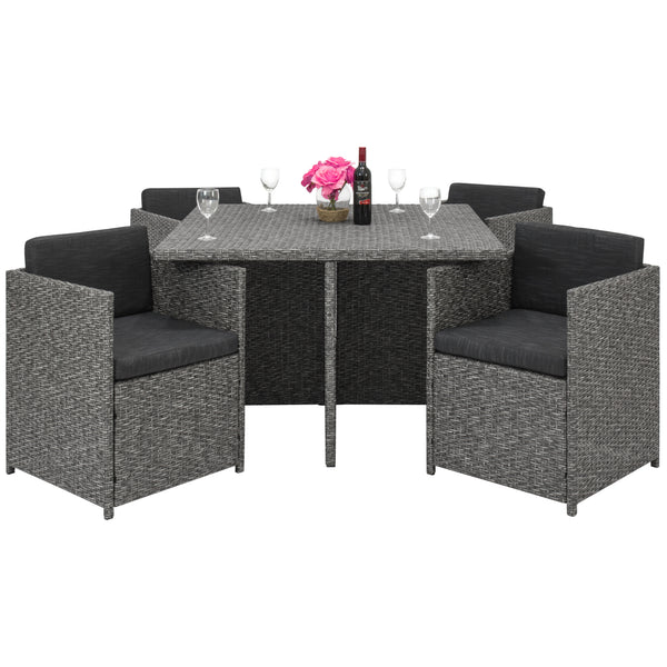 5-Piece Space-Saving Wicker Dining Set