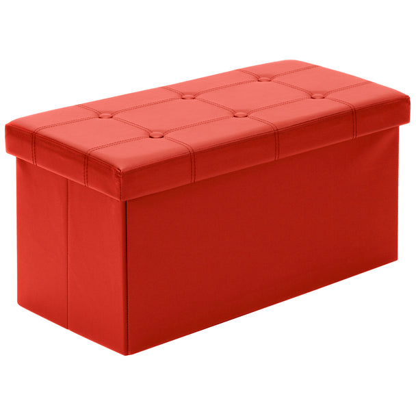 - Best Choice Products Home Furniture Folding Storage Ottoman Bench- Red