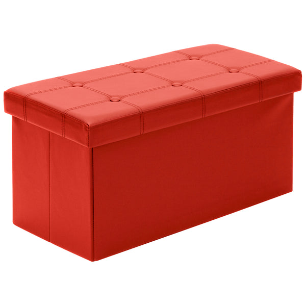 Folding Storage Ottoman Bench - Red