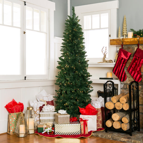 7.5ft Pre-Lit Hinged Fir Artificial Pencil Christmas Tree w/ Stand