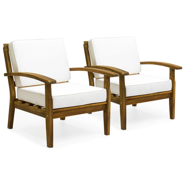 Set Of 2 Outdoor Acacia Wood Club Chairs W/ Cushions