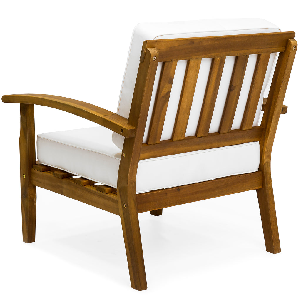 Set of 2 Outdoor Acacia Wood Club Accent Chairs w/ Water-Resistant Cushions