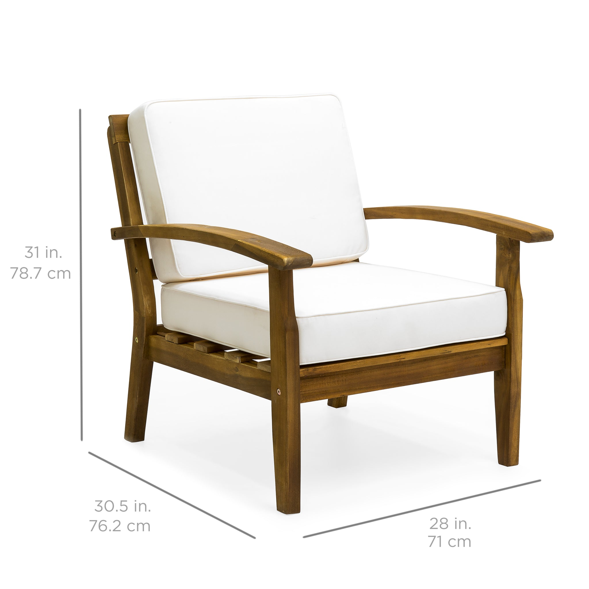 Set of 2 Outdoor Acacia Wood Club Chairs w Cushions Cream