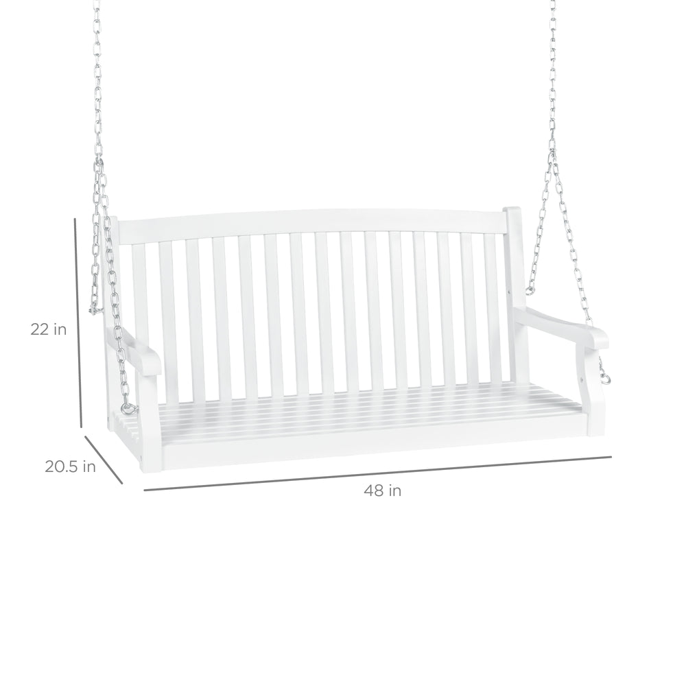 Wooden Hanging Porch Swing W/ Metal Chains   White