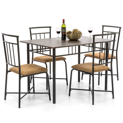 5-Piece Metal Wood Top Dining Set