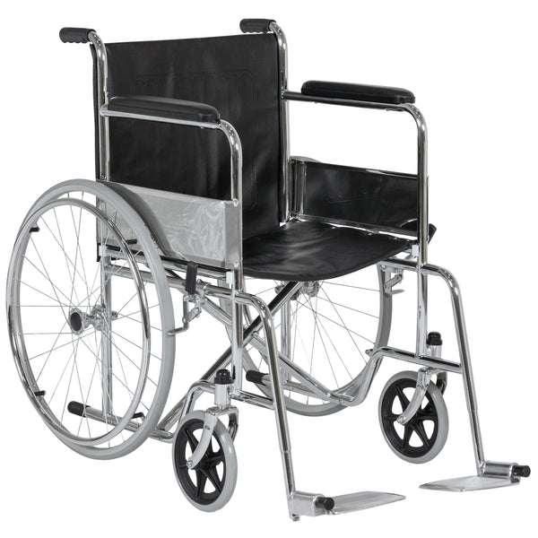 24in Folding Wheelchair w/ Swing-Away Footrest - Black