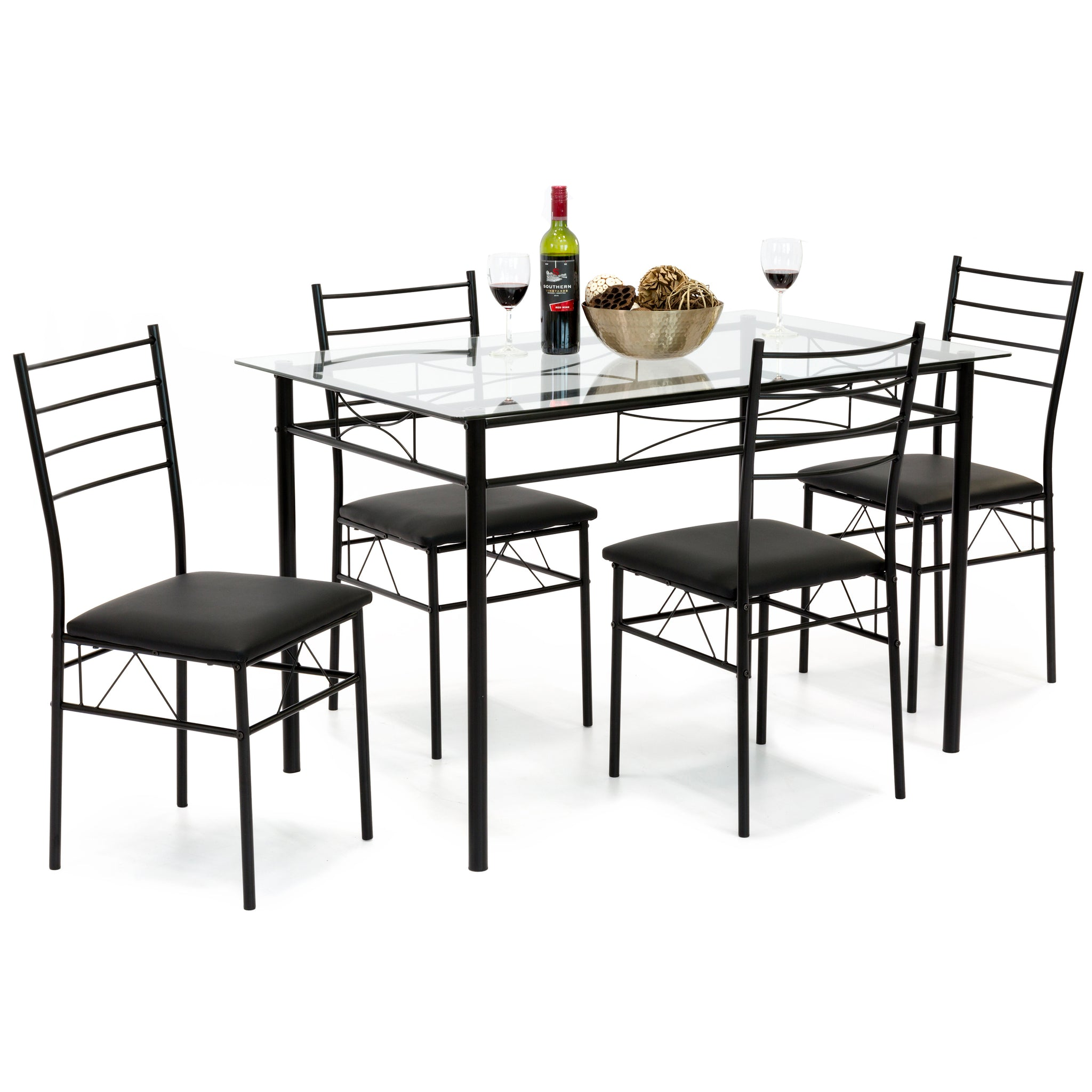 5 Piece Glass Dining Table Set