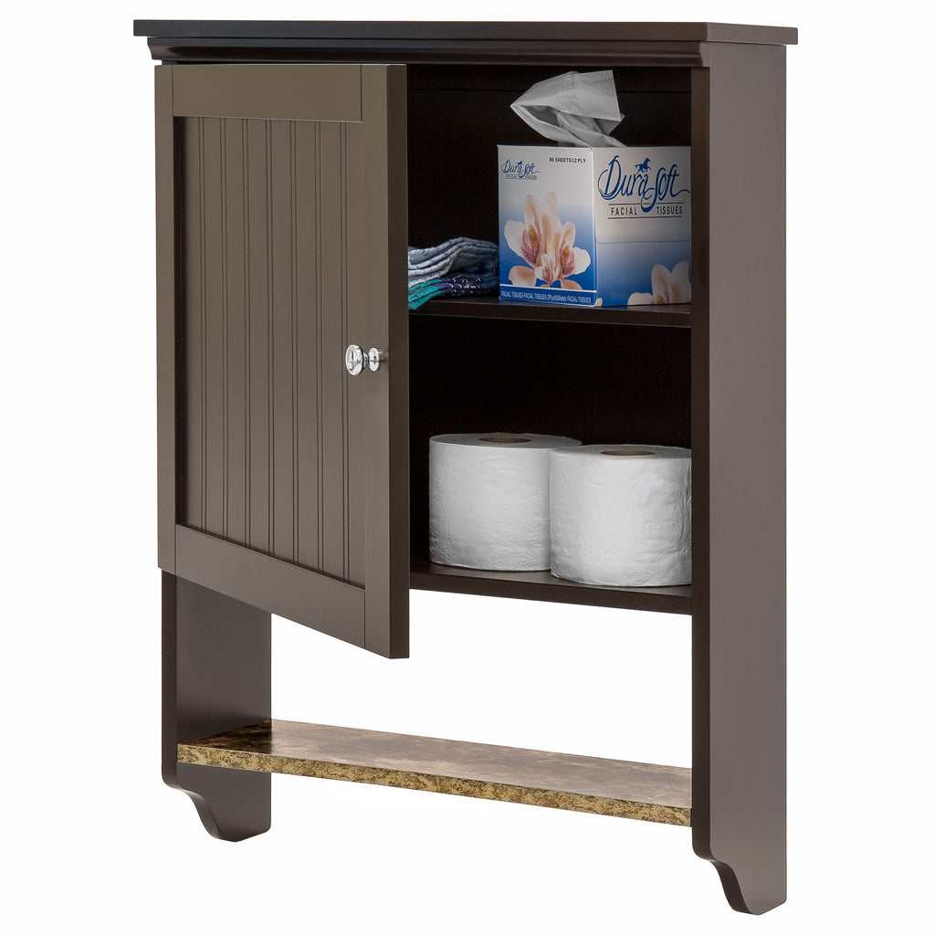 Bathroom Wall Storage Cabinet (Espresso)