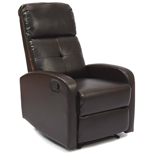 Home Theater Leather Recliner Chair - Ebony Brown