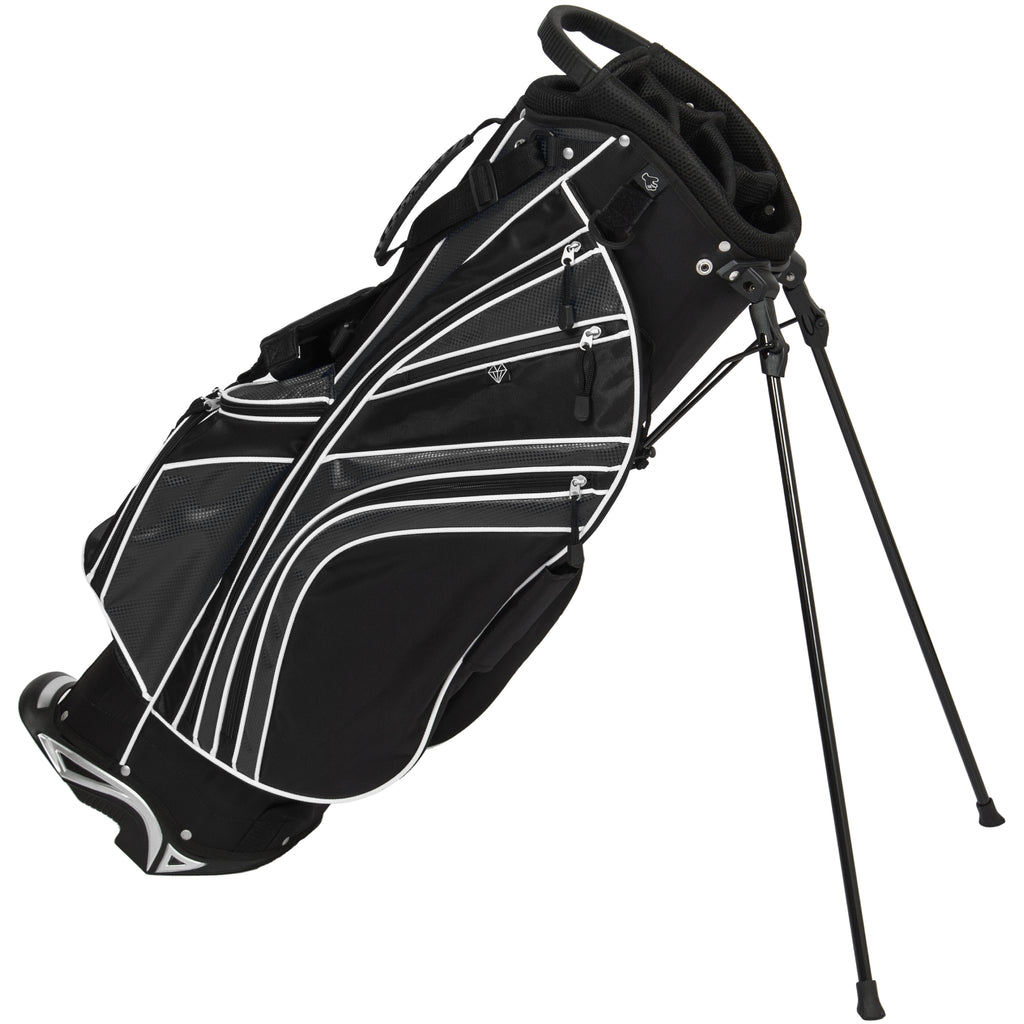 Best Choice Products Golf Bag Stand 6 Way Divider Organizer Carry Straps- Black