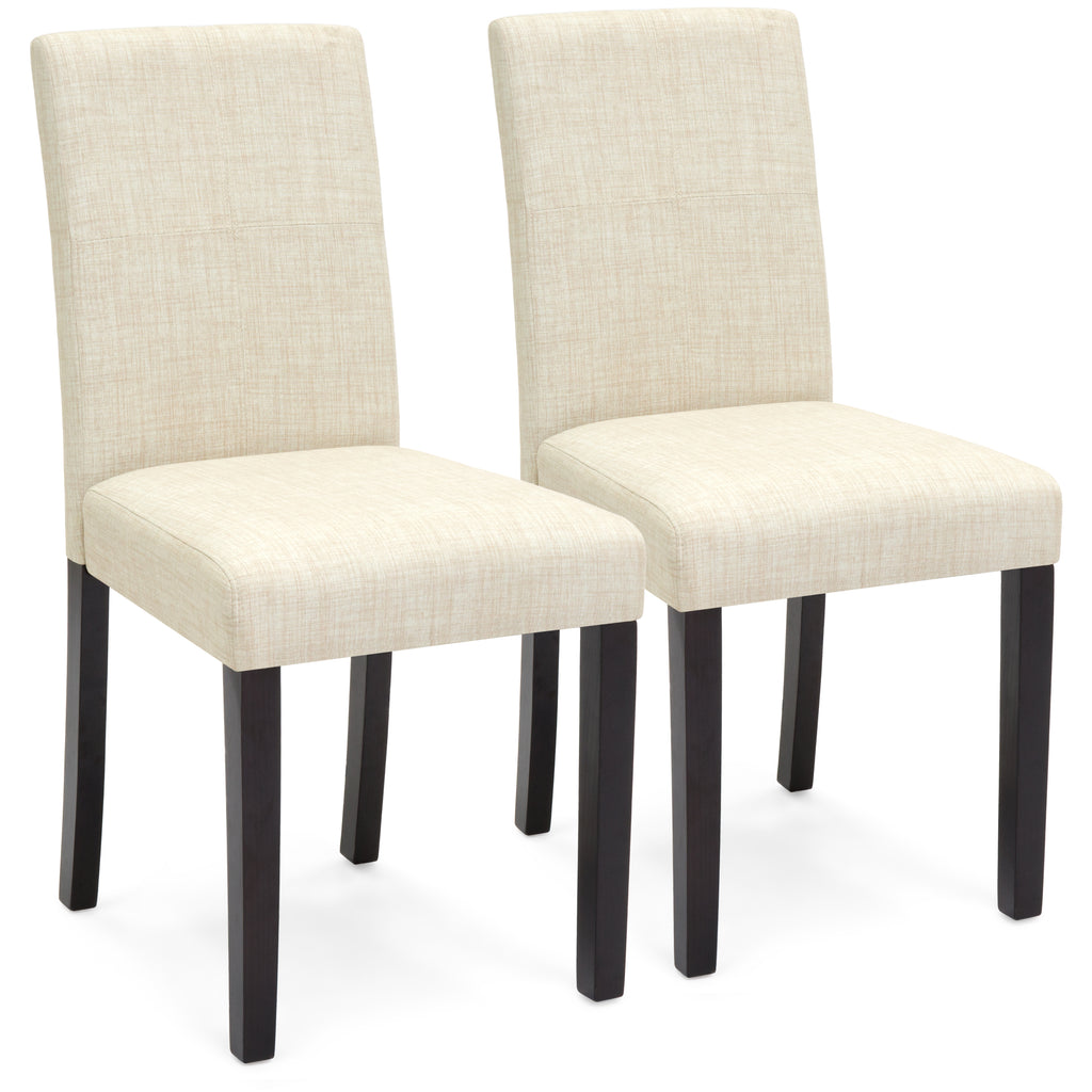 Set of 2 Fabric Parsons Dining Chairs - Beige
