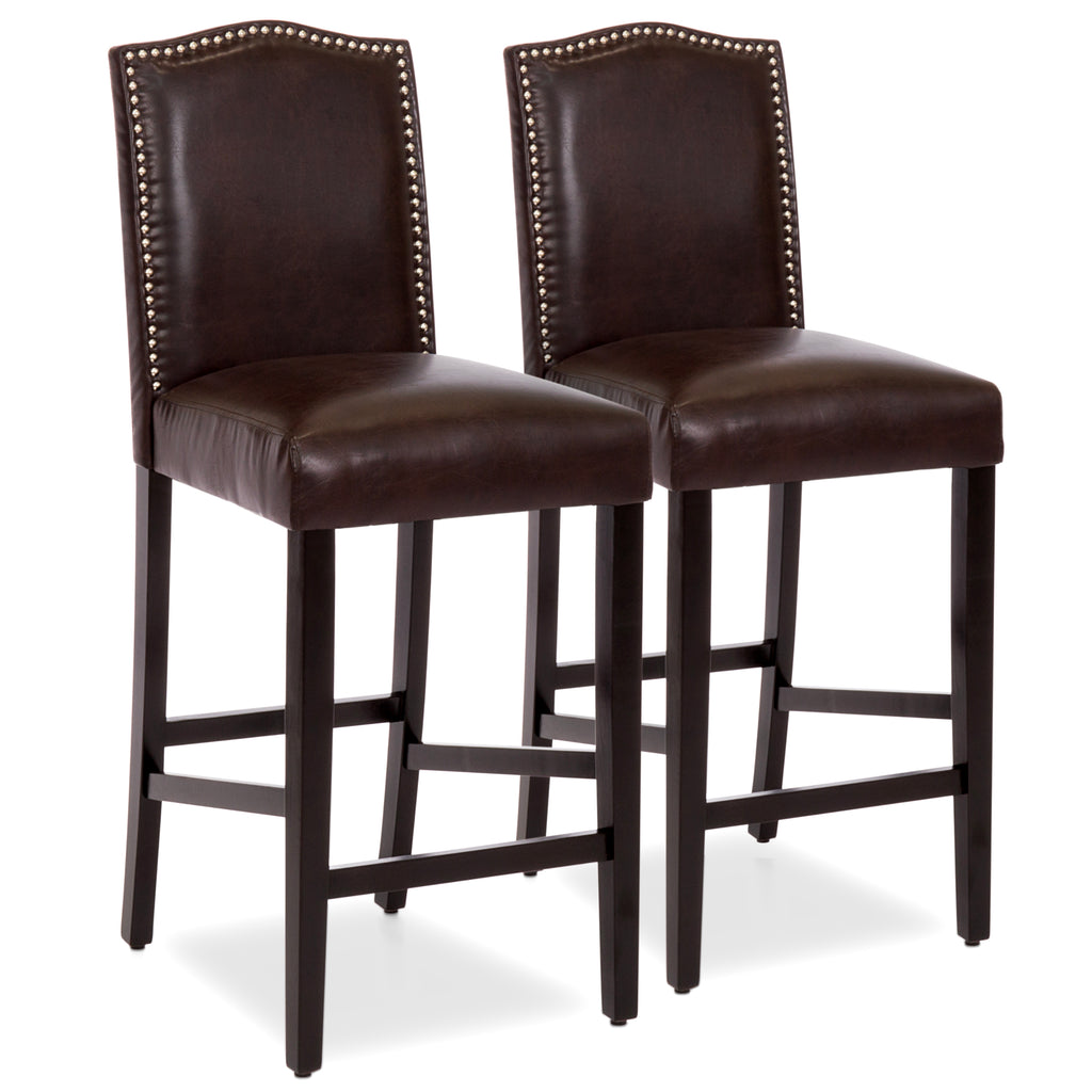 Set of 2 30in Faux Leather Counter Height Bar Stools w/ Studded Trim Back