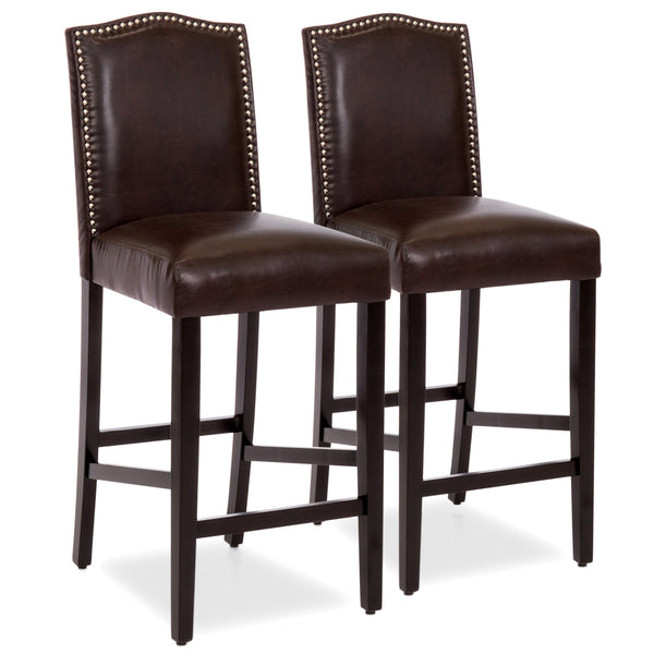 Best Bar Sets: Set Of 2 30in Faux Leather Counter Height Bar Stools W