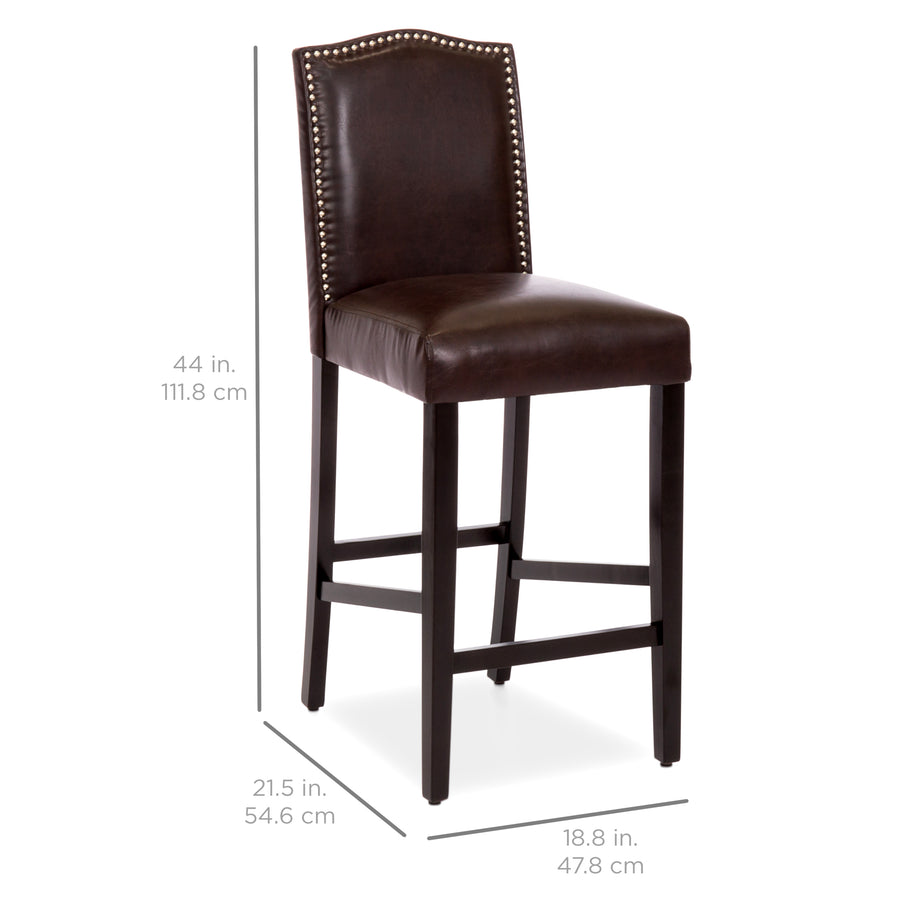 Set of 2 30in faux leather counter height bar stools w studded trim back