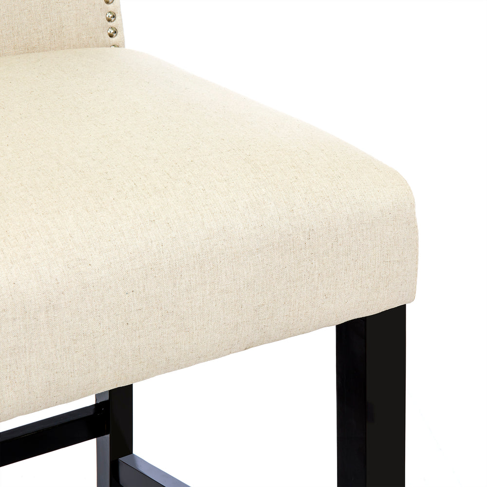 30 Quot Set Of 2 Linen Fabric Backed Bar Stools Ivory Best