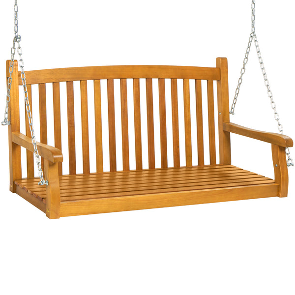 Hanging Acacia Wood Porch Swing Bench w/ Chains, Slat Curved Back