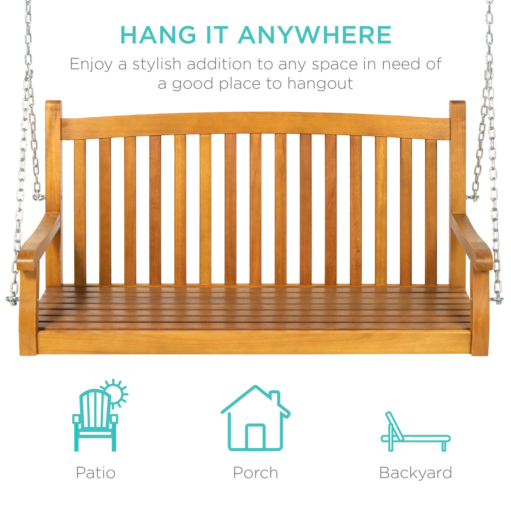 Wooden Porch Swing w/ Hanging Chains - Brown