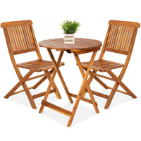 Deals on BCP 3-Pcs Acacia Wood Bistro Set w/ Folding Table and Chairs