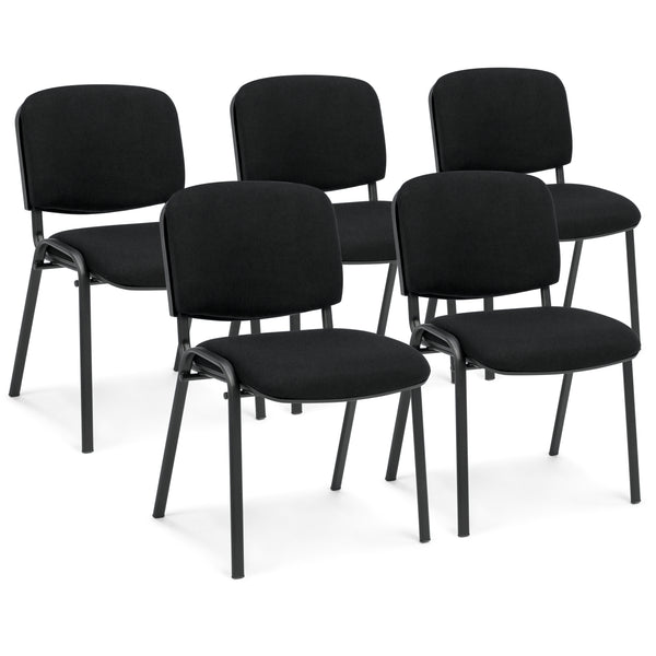 Set of 5 Heavy-Duty Conference Room Office Chairs - Black