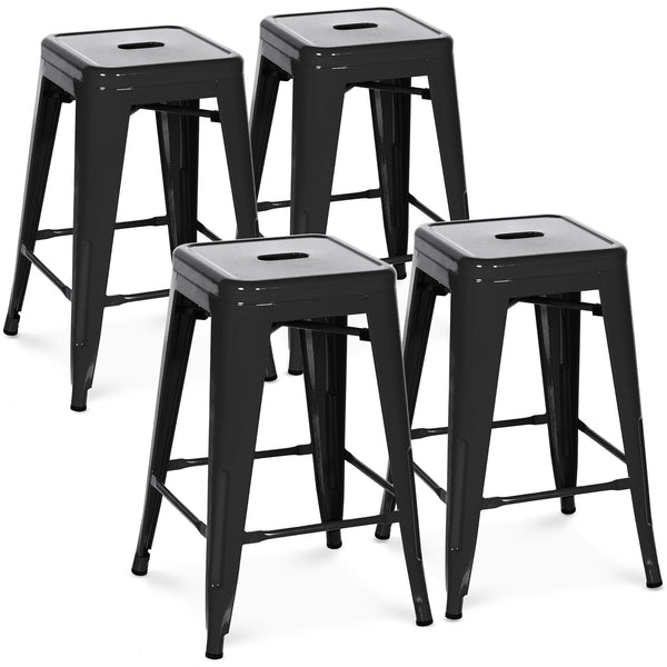 24in Set of 4 Stackable Backless Counter Stools - Black