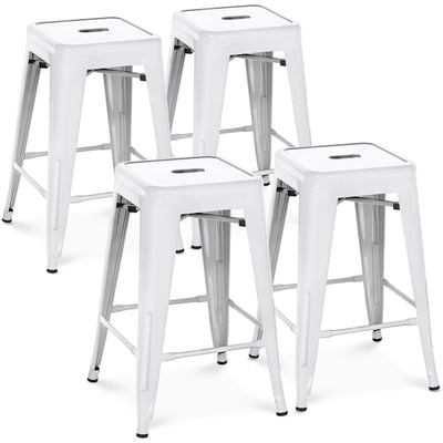 "Best Choice Products Indoor Outdoor Stackable Backless Set Of 4 Metal 24"" Counter Height Bar Stools- White"