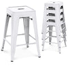 24in Set of 4 Stackable Backless Counter Stools - White