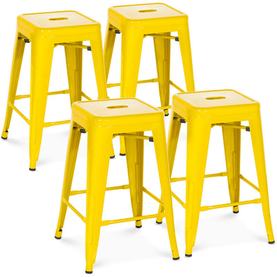 "Best Choice Products Indoor Outdoor Stackable Backless Set Of 4 Metal 24"" Counter Height Bar Stools- Yellow"