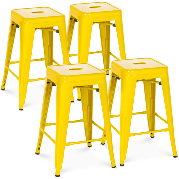 24in Set of 4 Stackable Backless Counter Stools - Yellow