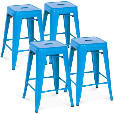 "Best Choice Products Indoor Outdoor Stackable Backless Set Of 4 Metal 24"" Counter Height Bar Stools- Blue"