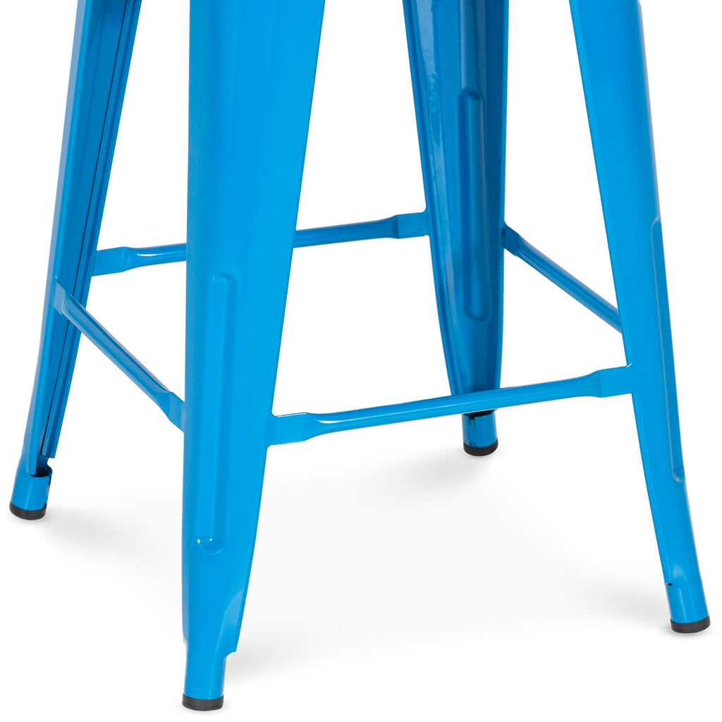 "Best Choice Products Indoor Outdoor Stackable Backless Set Of 4 Metal 24"" Counter Height Bar Stools - Blue"