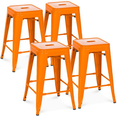 "Best Choice Products Indoor Outdoor Stackable Backless Set Of 4 Metal 24"" Counter Height Bar Stools- Orange"